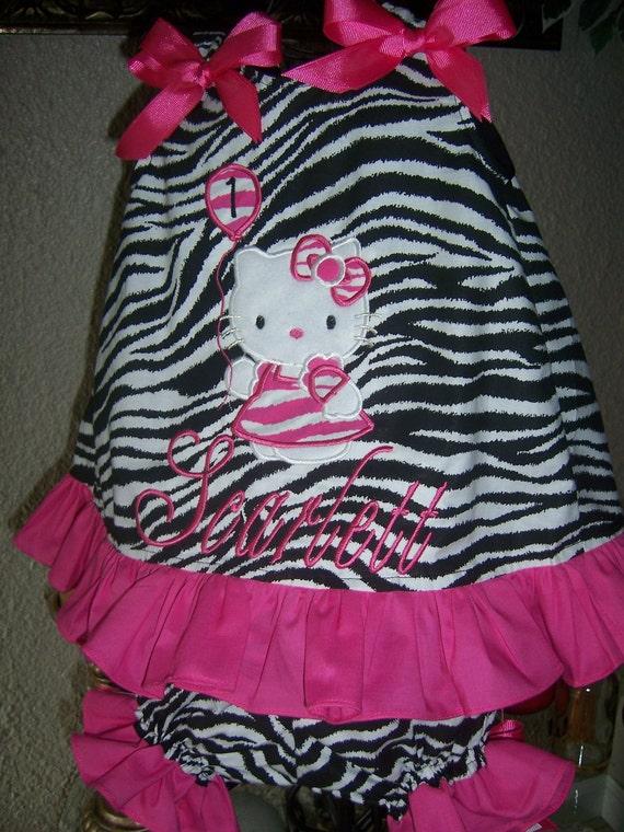 Zebra And Hot Pink Hello Kitty Birthday Dress With Matching