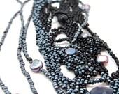 Black Swag Freeform Beadweaving Cuff Bracelet -OoaK
