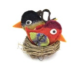 Set of Two Colorful Mini Birds Soft Ornaments, Child and Pet Friendly, Holiday Decor