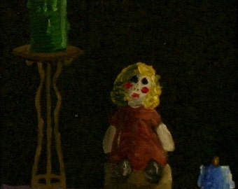 doll and candles - original gothic still life oil painting