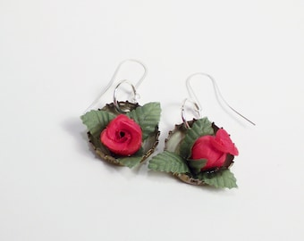 Bottle Cap Dangle Earrings are filled with a Red Rose Womens Valentines Gift Ladies Earrings Hipster Upcycled Accessories