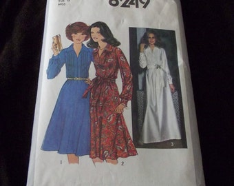 Sewing Pattern Ladies 70's dress Simplicity size 14  pattern 8249 Disco Party Long Sleeve Short or Long Dress Women Vintage Retro Clothing