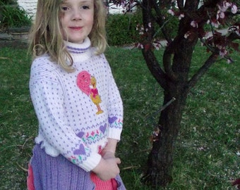 Girls  Big Bird Sweater Dress Recycled Sweater Big Bird size 4 Pink Purple Children Sesame Street Upcycled Clothing Boho Kids Patchwork