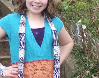 Sleeveless Shirt Recycled Lightweight Teal Tangerine Orange Sweaters Women Small Medium Boho Upcycled Clothing