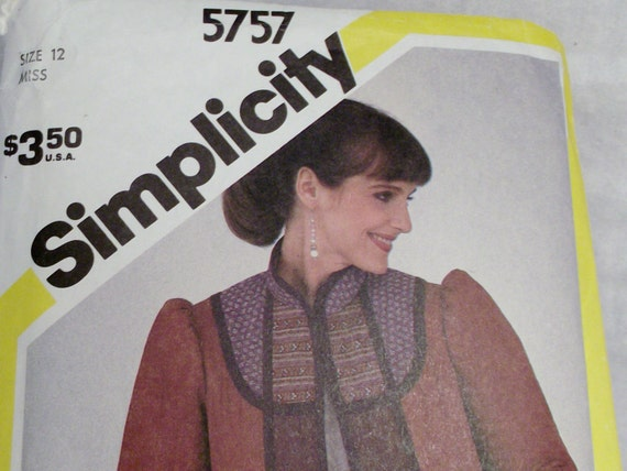 Quilted Jacket Coat Sewing Pattern 1980s Fall Autumn Winter Cothing Simplicity 5757 Ladies Women size 12 Do it yourself Vintage Retro