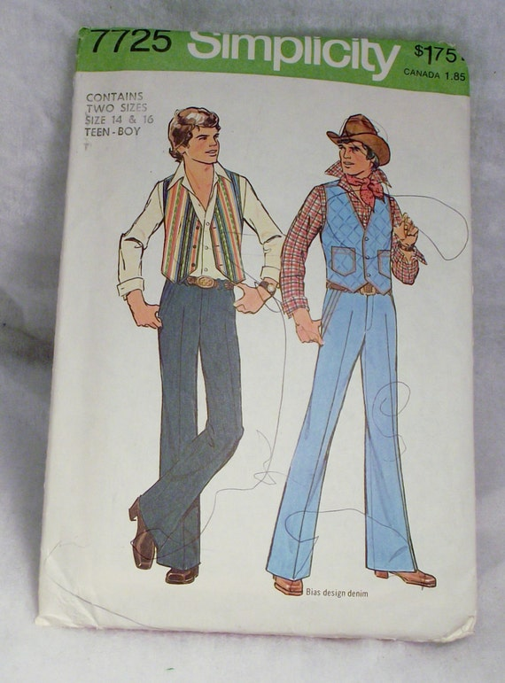 Vintage Simplicity Pattern for Sewing a Hip and Retro Teen  Boys Vest and Pants Patterns cowboy 70s size 14 16 hipster