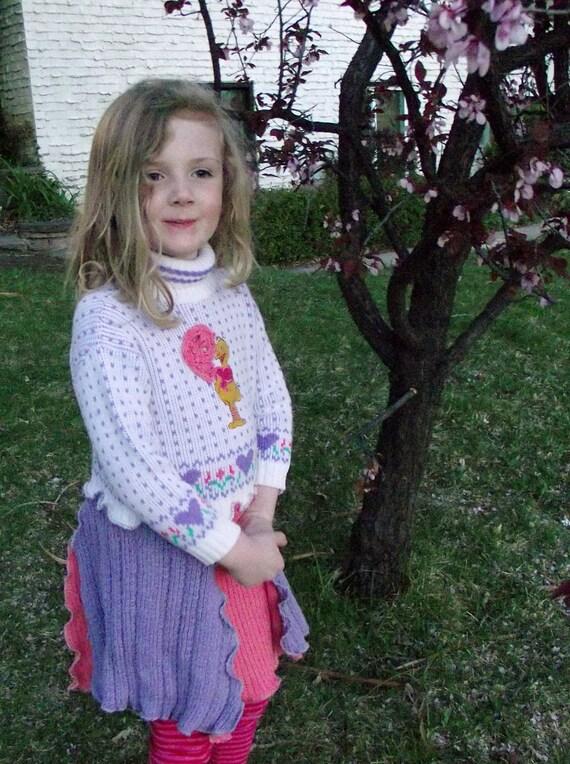 Girls  Big Bird Sweater Dress Recycled Sweater Big Bird size 4 Pink Purple Children Sesame Street Upcycled Clothing Boho Kids Patchwork
