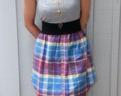 Upcycled dress made out of grey lace tank top with multicoloured plaid mens dress shirt - One of a kind.