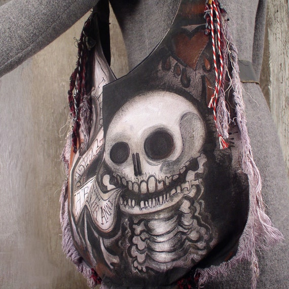 Traveler's Sack - Skull with Two Bones and Heart