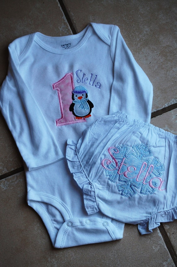Personalized Penguin Birthday Shirt with Matching Snowflake Bloomers, Winter Birthday, Penguin Birthday, 1st Winter Birthday, Birthday Set