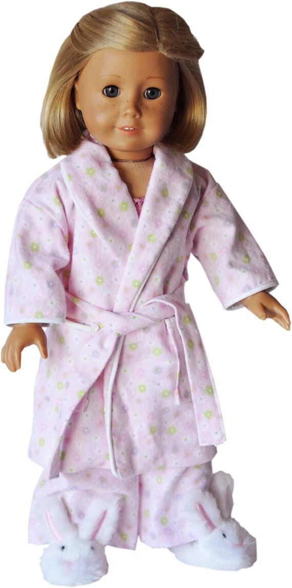 "American Girl 18"" Pajamas - Pastel Pink Mini Flowers Robe and Pajama Set - With Slippers"