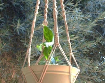 Macrame Plant Hanger Vintage Style 40 inch 4mm Sand (Choose Color)