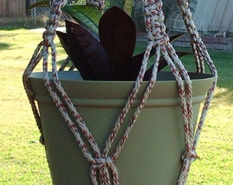 Macrame Plant Hanger 28 in Vintage AllSpice strong 6mm With BEADS