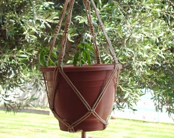Macrame Plant Hanger Vintage Style 4mm, 30 inch Sand (choose color)