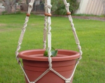 Macrame Plant Hanger 40 inch Button Knot BEADS - 4mm Pearl