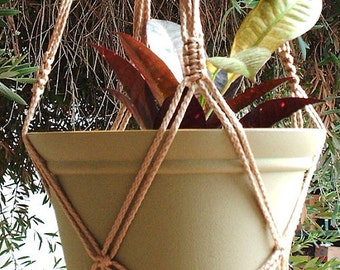 Macrame Plant Hanger Vintage Style 4mm, 30 inch Cinnamon with BEADS