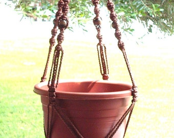 MACRAME Plant Hanger Vintage Style 40 inch 6mm  Brown with BEADS