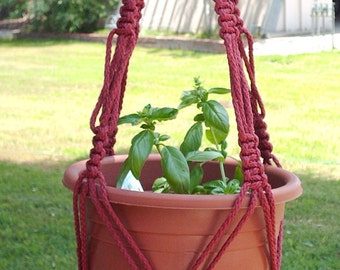 Macrame Plant Hanger 34 in Vintage strong 6mm BEADS Cranberry