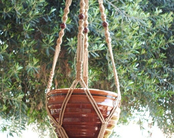 MACRAME PLANT HANGER Vintage Style 48 inch 6mm Sand color with Beads