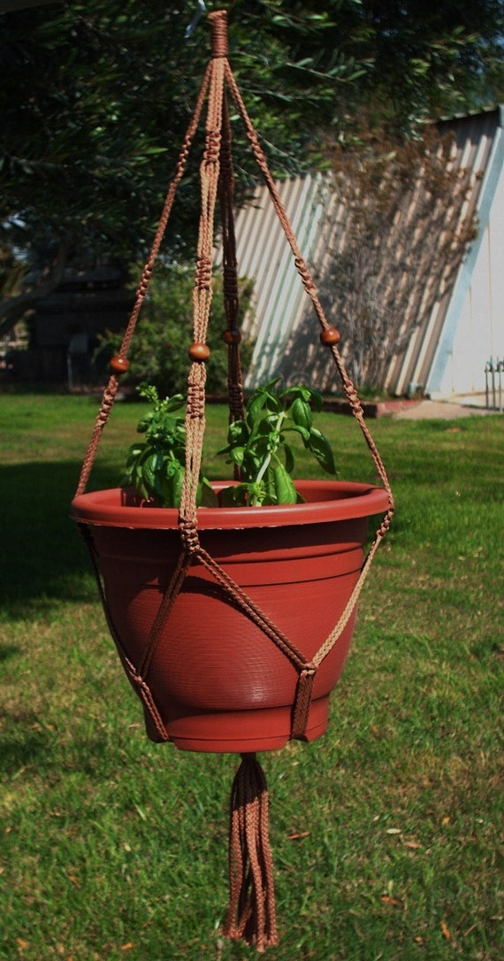 Macrame Plant Hanger Vintage Style 4mm, 36 inch Cinnamon with BEADS - will hold a wide pot (Choose Color)