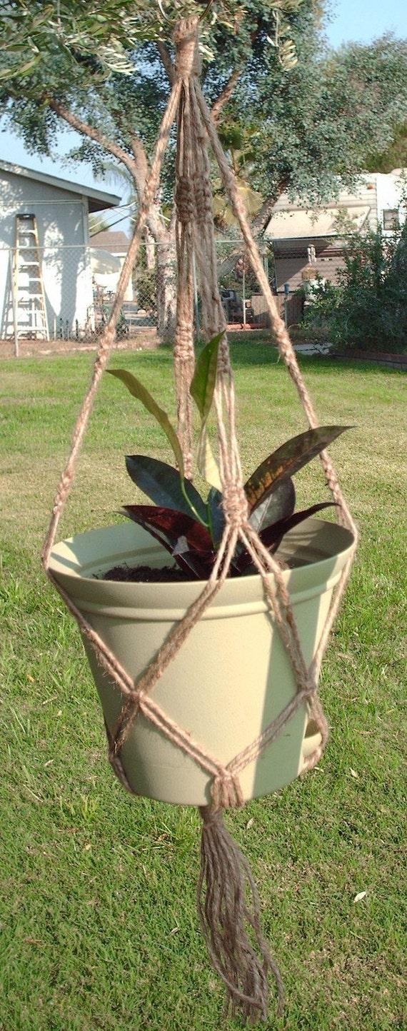 Macrame Plant Hanger Natural Jute Vintage Style 30 inch