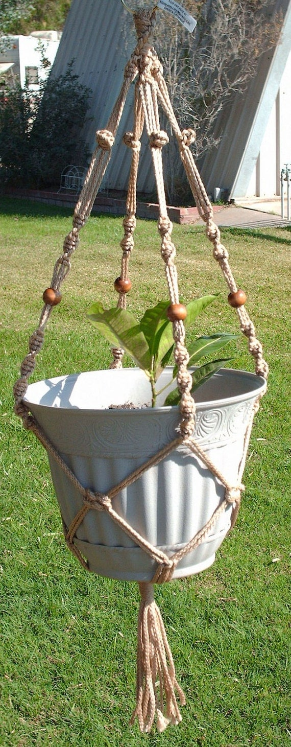Macrame Plant Hanger 28 in Button Knot BEADS - 4mm Sand (Choose Color)
