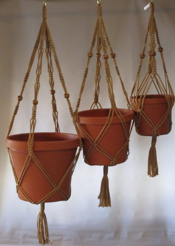 Macrame Plant Hangers Vintage Style 4mm TRIO 24 inch, 30 inch, and 36inch BEADS Sand