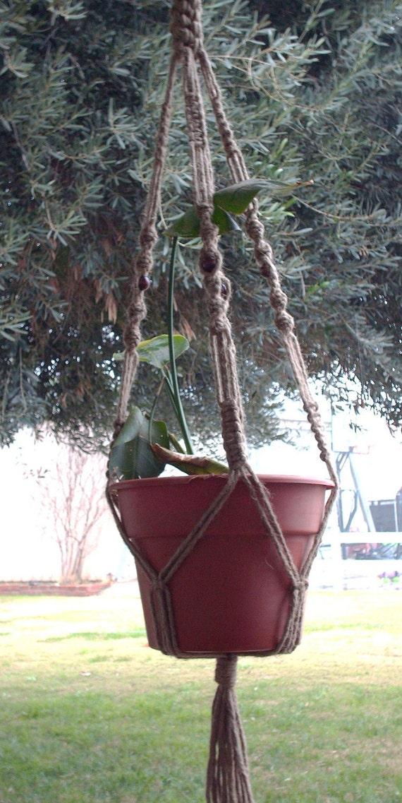 Macrame Plant Hanger Natural Jute Vintage Style 48 inch BEADS