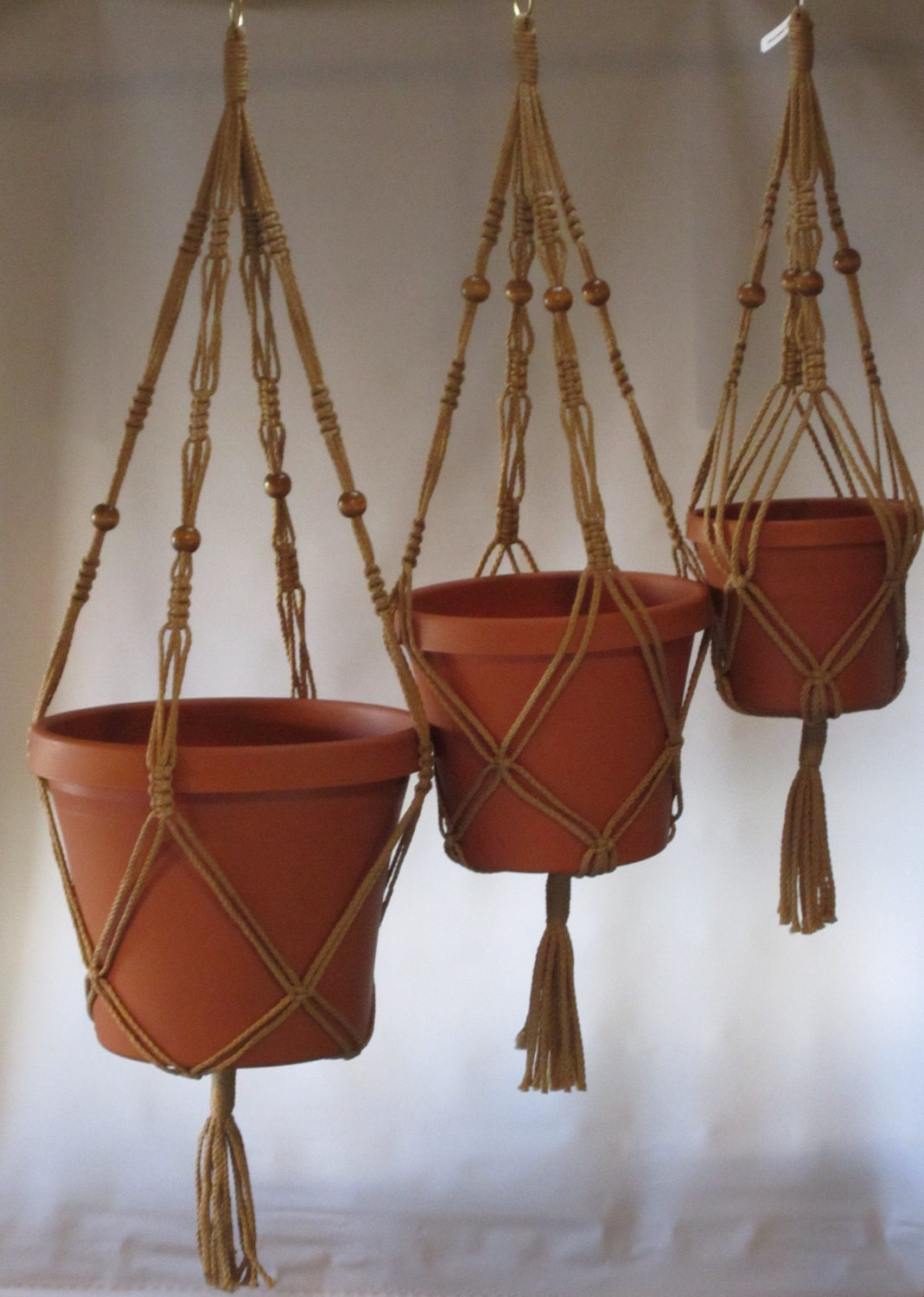 Macrame Plant Hangers Vintage Style 4mm Trio 24 Inch 30 Inch