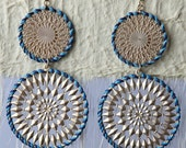 Holiday SALE Large Blue and Gold Crochet Metal Dangle Earrings