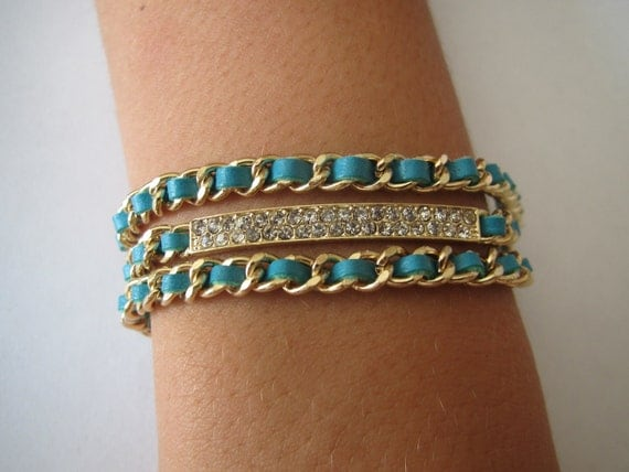Blue and Green Pave Bar Crystal Chain Leather Wrap Adjustable Reversible Bracelet