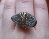 wire-wrapped ring - 14k gold druzy - size 8