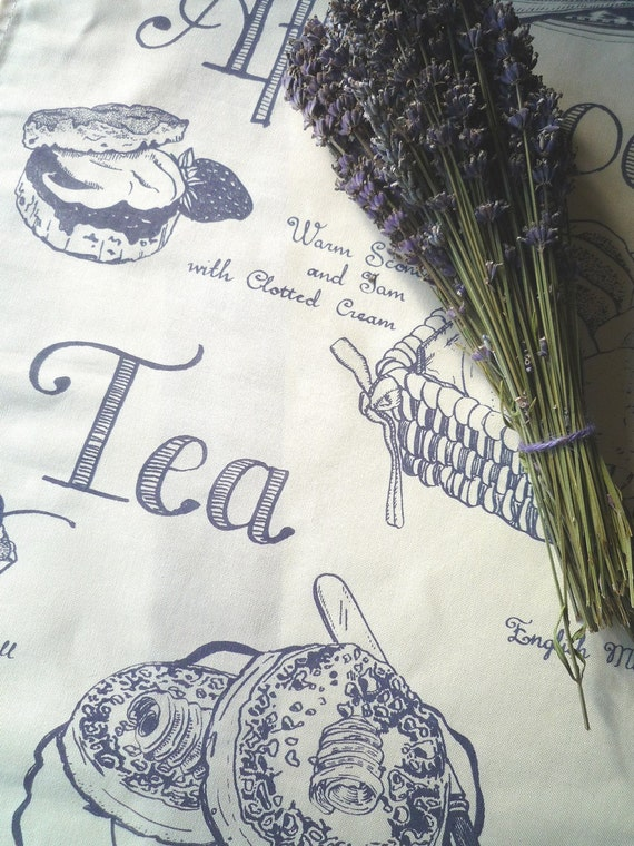 Afternoon Tea Treats Tea Towel - Lavender Grey