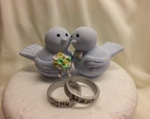 Love birds with personalized wedding rings