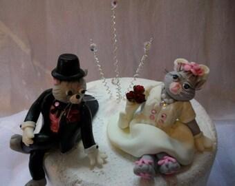 Bride and groom cat pair cake topper
