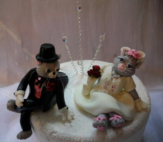 cat bride and groom wedding cake topper and groom cat pair cake topper 12452