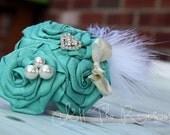Tiffany Blue Dupioni Silk Trio Headband on skinny elastic--silk bow, heart rhinestone, swarovski crystal pearls and a feather accent