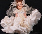 Vintage Bride Doll brunette 30s 40s 50s antique wedding