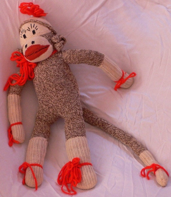Vintage antique mid-century Glamorous Pretty SOCK MONKEY doll toy She has lipstick and fancy yarn to wear