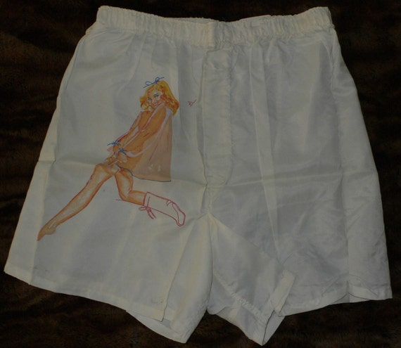 Now on Sale -- Rare vintage deadstock Vargas Girl PIN-UP Boxers NWT mid-century 40s 50s - one of 2 pair of shorts up on etsy
