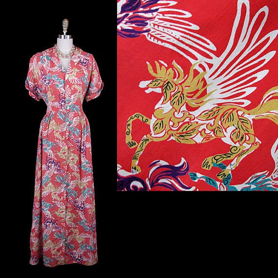 Reserved --  Glamorous VLV 40s Dress or Gown --Gorgeous Rayon Novelty Pegasus Print -- Great Size (not too small)