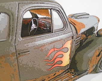 Junker Car Art Photography 1939 Grey Chevy Hot Rod with Flames