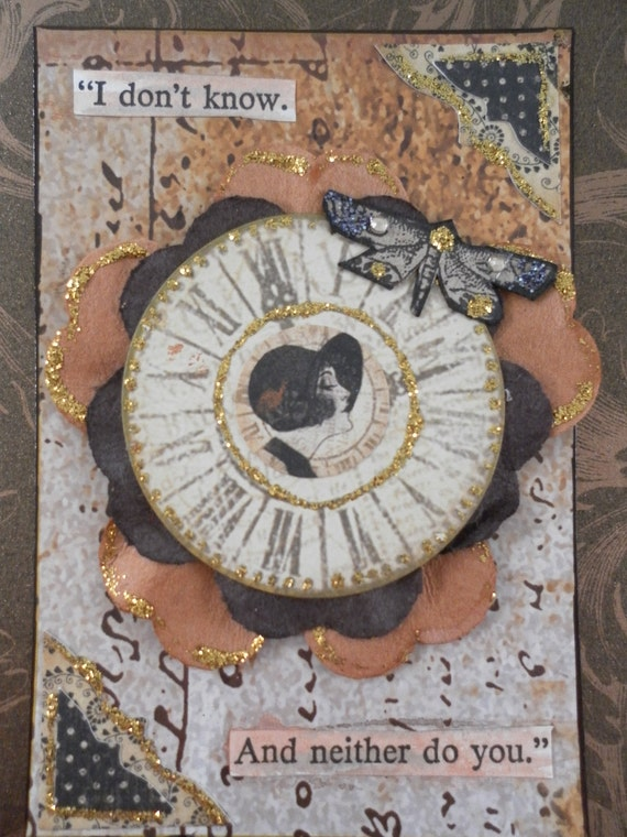 Original Framed OOAK Collage Hanging or Desktop with Glittered Watchface Clock with woman in Black Cloche Hat with Attitude