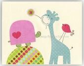 Baby girl Room Decor, Nursery Art, giraffe, owl, bird...Pretty turtle, pink, yellow, green, daisy bedding, pbk