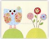 Baby Owl Nursery Decor - Owl Nursery Art Featuring Little Baby owl With Cute Happy Flowers - Blue & Green 8 x 10 print For Nursery Decor