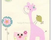 Baby girl nursery wall art Print Art giraffe baby owl...Friends on the grass light blue