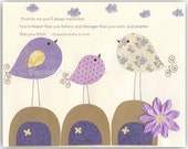Kids Room Decor Nursery Art  birds..Promise me youll always remember You're braver than you believe.. lavender