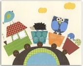 Nursery Art Decor, Kids Print, Baby room print, jungle Animals, baby animals ...Rainbow train hedgehog and baby owl