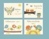 Nursery Art Print, Kids Wall Art, inspiring Wall Art, Nursery Decor // Colors Green Blue Orange Yellow // Set of 4 8x10 Prints