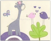 Baby girl Room Decor, Nursery wall Art prints, purple giraffe..match to the colors Gabrielle bedding, lavender and green